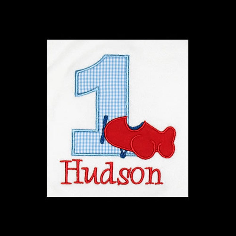 Personalized Applique Birthday Number with AIRPLANE and NAME image 0