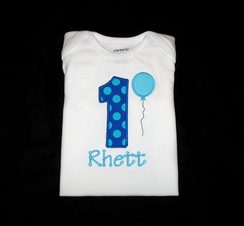 Personalized Applique Birthday Number with BALLOON and NAME image 0