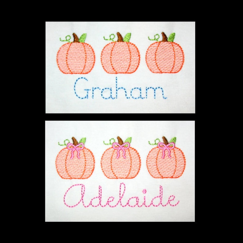 Personalized Fall Vintage Sketch Stitch PUMPKIN TRIO with or image 0