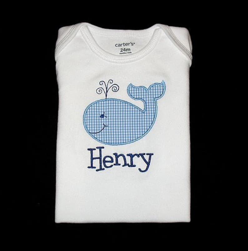 Custom Personalized Applique WHALE and NAME Bodysuit Shirt image 0