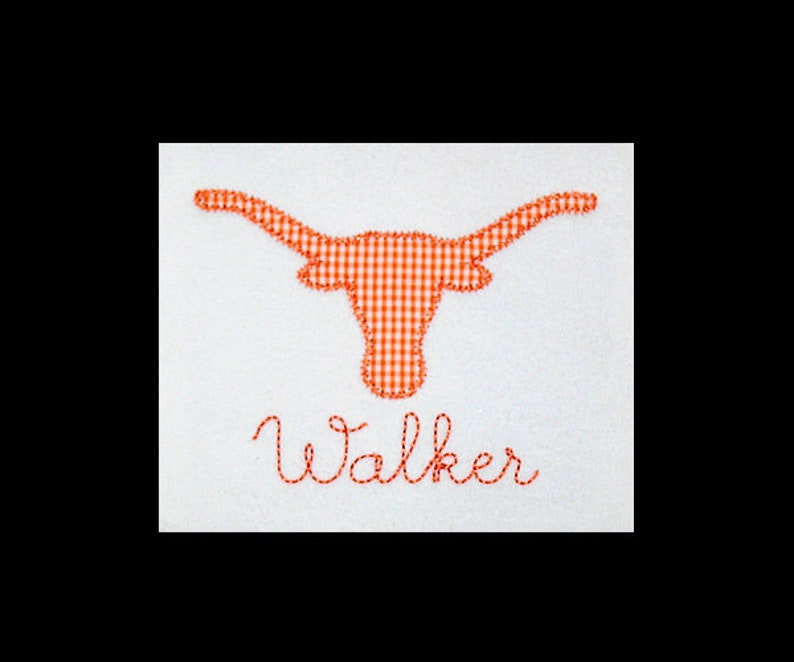 Personalized Applique Vintage Zig Zag Stitch LONGHORN and Name image 0