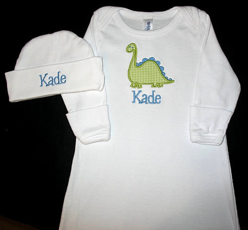Custom Personalized Applique Gingham DINOSAUR and NAME Gown and Hat Set Blue and Lime Green