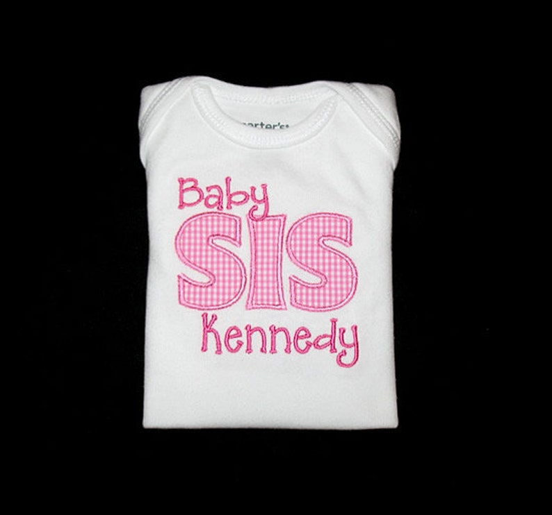 Personalized Applique Big Middle Little or Baby SISTER and image 0