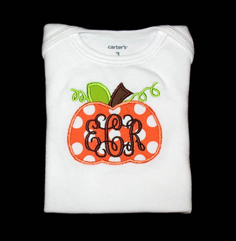 Personalized Applique Fall PUMPKIN and 3 Initial Monogram image 0