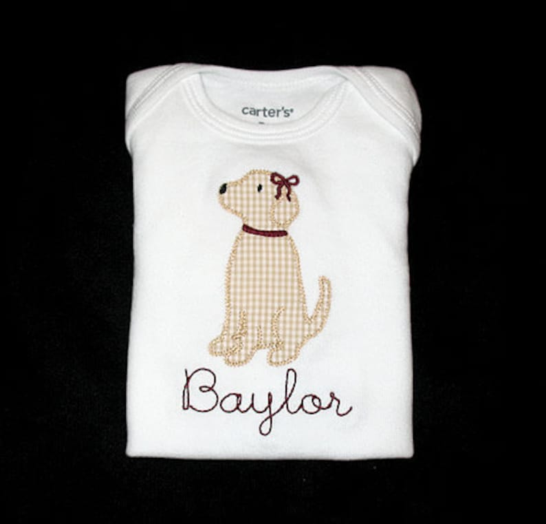 Custom Personalized Applique Vintage Stitch Boy or Girl with image 0