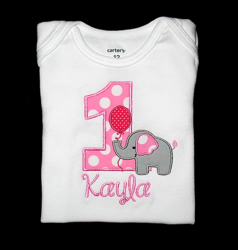 Custom Personalized Applique Birthday Number ELEPHANT with BALLOON and NAME Shirt or Bodysuit and Hot Pink Gray Candy Pink Ta Dots