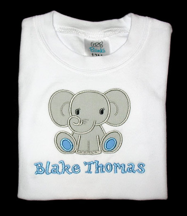 Custom Personalized Applique ELEPHANT and NAME Bodysuit image 0