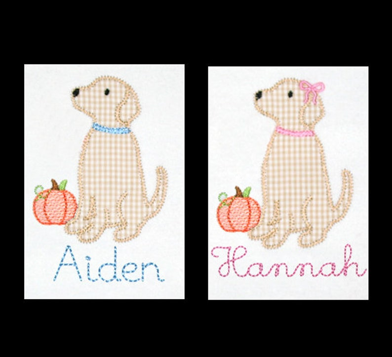 Personalized Applique Vintage Stitch Boy or Girl Lab DOG with image 0
