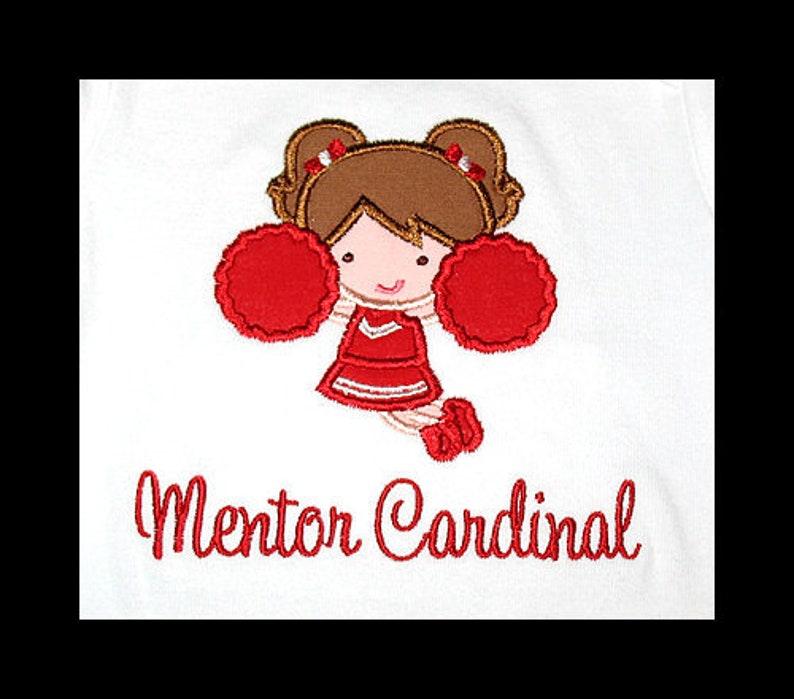 Custom Personalized Applique CHEERLEADER with Pom Poms and image 0