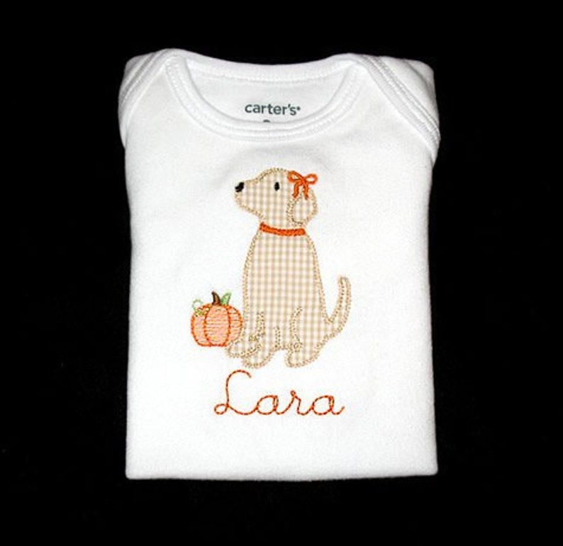 Personalized Applique Vintage Stitch Boy or Girl Lab Puppy DOG image 0