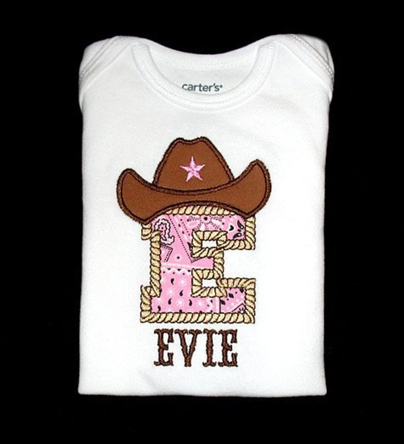 Custom Personalized Applique COWBOY HAT INITIAL and Name image 0
