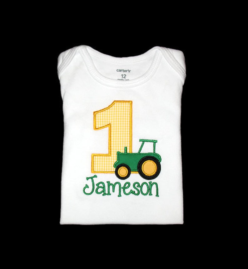 Personalized Applique Birthday Number with TRACTOR and NAME image 0