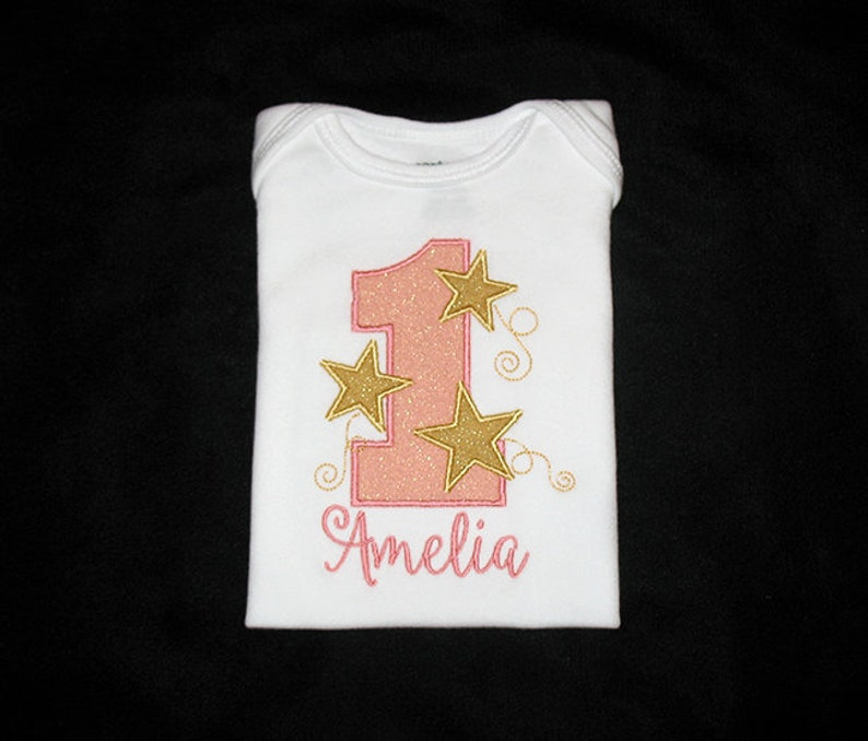 Personalized Applique Birthday Number with STARS and NAME image 0