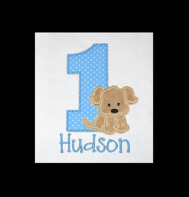 Personalized Applique Birthday Number with Furry Minky PUPPY image 0