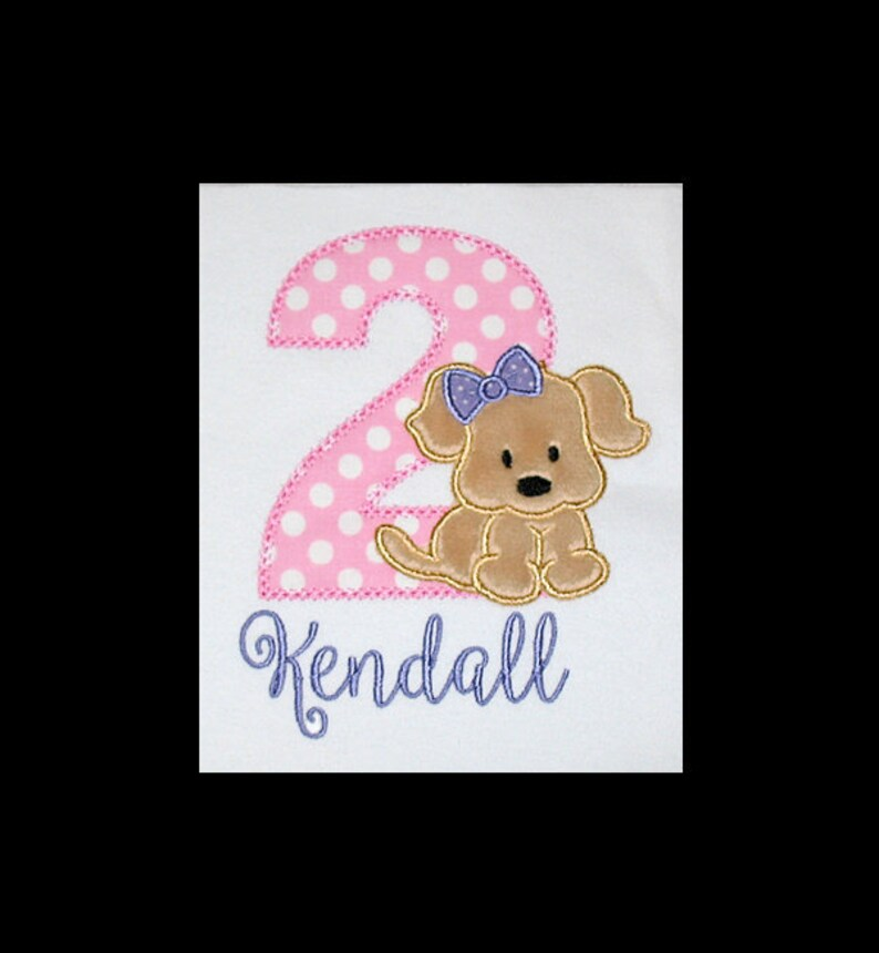 Personalized Applique Birthday Number with Furry PUPPY DOG and image 0