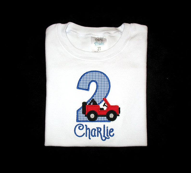 Personalized Applique Birthday Number with JEEP and NAME Shirt image 0