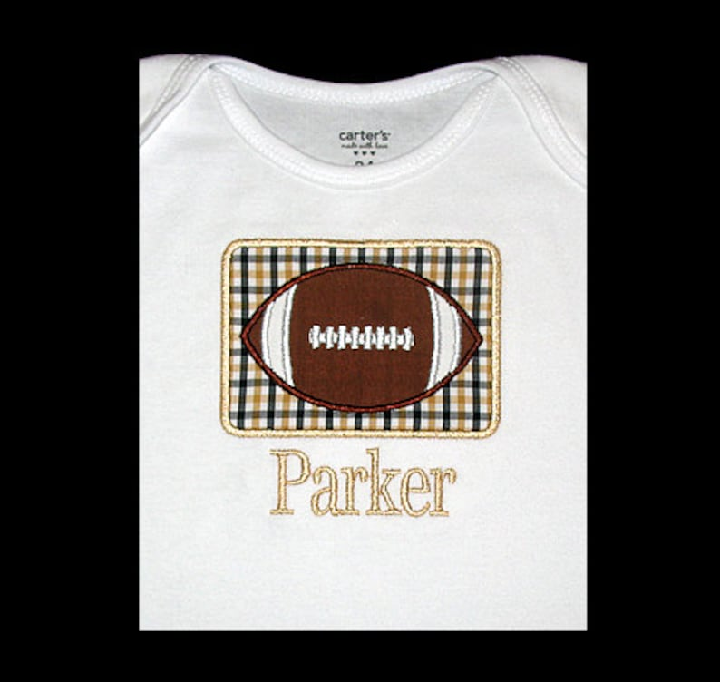 Personalized Applique FOOTBALL and NAME Shirt Bodysuit or image 0
