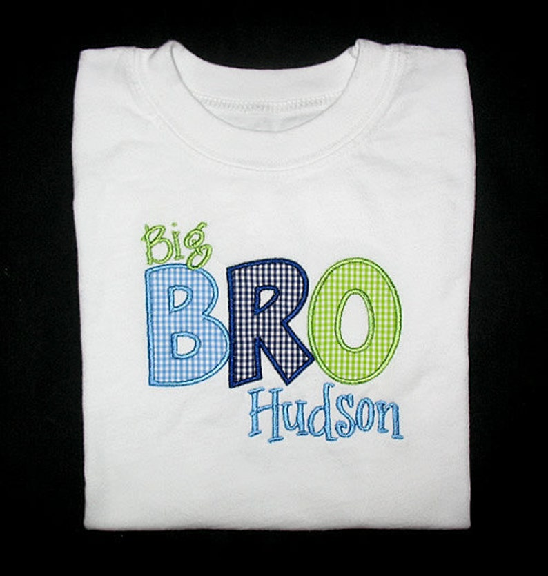 Custom Personalized Applique Big Middle or Little BROTHER image 0