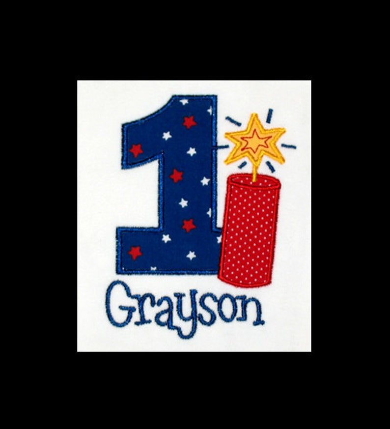 Personalized Applique Birthday Number with FIRECRACKER and image 0