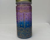 Hand Stained-Painted glass jar-red purple fading to blue(hombre) with intricate gold 39 henna style 39 designs.