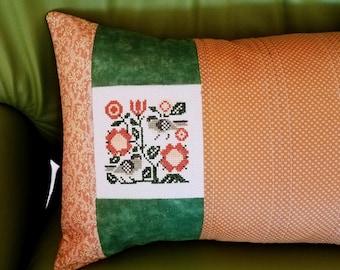 Bird Flower Decorator Pillow Folk Art Pillow  Lumbar Pillow Embroidery Cross Stitch Oblong  Green Coral Decor