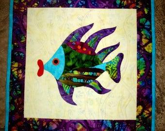 Wall Hanging Fish Quilt Art Applique Fish Hot Lips Batik Aqua Purple Green Red Original Design