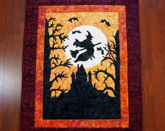 Halloween Witch Quilt Wall Hanging Witchy Woman Fiber Art Applique Batik Black Gold Orange