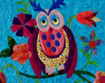 Owl Wall Art Quilt Sleepy Time Owl Quilted Wall Hanging Quilt Nursery Decoration Childrens Room Aqua Pink Yellow Original Design