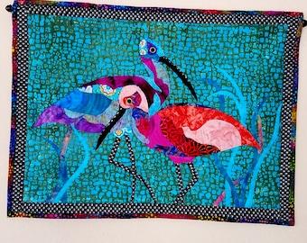 Wall Art Quilt Shore Birds Fabric Art Sandpipers Tropical Beach House Batik Wall Hanging Aqua Coral Purple
