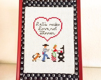 County Kitchen Art Lets Make Love Not Dinner Cross Stitch Gift For A Cook
