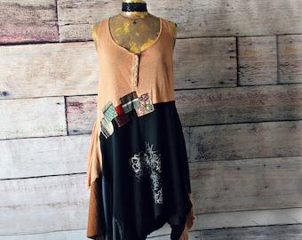 Rustic Slouchy Stretch Jersey Dress Layer Draped Style Lagenlook Clothing Women Tank Dress Upcycle Plus Size Flowy Swing Dress 1X 2X 'LEXIE'