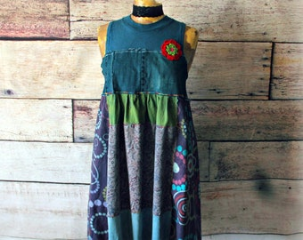 Blue Boho Dress Upcycled Sustainable Women's Hippie Clothes Sleeveless Dress Art To Wear Festival Clothing Empire Waist Frock L 'PENELOPE