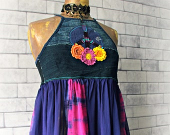 Music Festival Shirt Hippie Peace Sign Colorful Top Flowers Floral Tank Bohemian Clothing Boho Halter Top Babydoll Swing Gypsy Top M 'VIVIAN