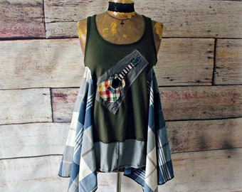 Blue Hippie Tank Women Bohemian Top Whimsical Clothes Refashioned Clothing Folk Guitar Music Boho Tunic Street Wear Shirt S M 'STACE'