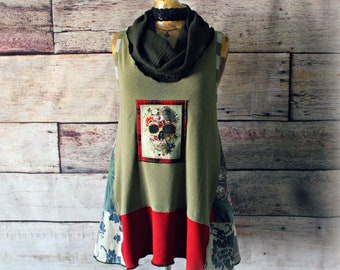 Slouchy Tunic Top Upcycled Clothing Women's Green Top Cowl Neck Shirt Sleeveless Tunic Reconstructed Fashion Skull Clothes L XL 'MALLORY'