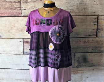 Shabby Chic Top Purple Women's Tunic Loose Fitting Shirt Lagenlook Clothing Bohemian Gypsy Mori Girl Clothes Upcycled Boho Top XL 1X 'CHLOE'