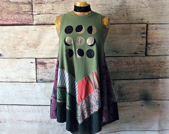 Long Boho Top Bohemian Clothing Up Cycled Shirt Women Swing Top Pointed Hem Tank Eco Friendly Clothes Reconstructed Top M L 'BELINDA'