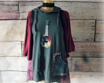 Boho Hoodie Top Folk Guitar Shirt Eco Friendly Clothing Upcycled Clothes Reconstructed Wear Bohemian Hipster Fashion M 'NADINE'