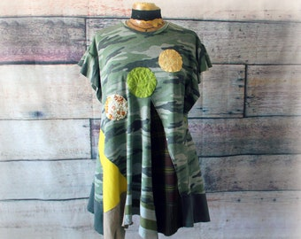 Plus size upcycled clothing for women Plus size boho chic Bohemian womens clothing Lagenlook clothing plus size Festival clothing Recycled