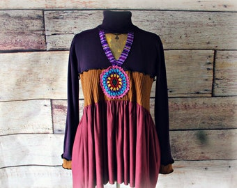 Wearable Art Top Purple Boho Shirt Women's Upcycle Wear Flared A-Line Tunic Unique Clothing Gypsy Clothes Sustainable Fashion L 'ASTRID'