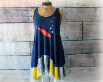 S artsy eco dress rustic cowgirl dress upcycled clothing wearable art reconstructed dress t-shirt dress cottage chic tee shirt dress