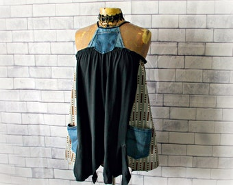 Black Upcycled Top Denim Halter Women's Swing Tank Recycled Clothing Tunic Pockets Edgy Urban Clothes Hipster Top Altered Fashion S 'GEMMA'
