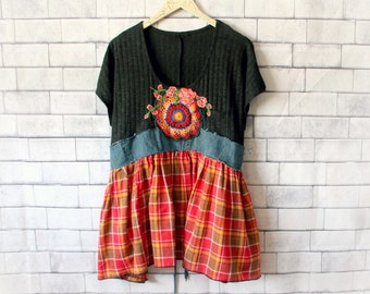 Bohemian Top Shabby Clothing Country Chic Shirt Loose Fit Blouse Hippie Clothes Rustic Tunic Women Eco Fashion Red Plaid Shirt XL 'TRINA'