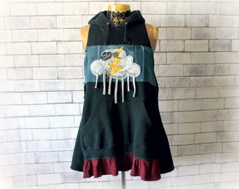 Rain Cloud Shirt Women Hoodie Up Cycled Clothing Fun Clothes Slouchy Shirt Sleeveless Tunic Hood Altered Couture Oversize Hoodie L XL 'NELLY