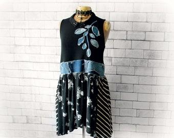 Grunge Clothing Urban Black Dress Rustic Fray Denim Women's Art Dress Boho Tunic Dress Recycle Eco Fashion Casual Streetwear  L XL 'SKYLAR'