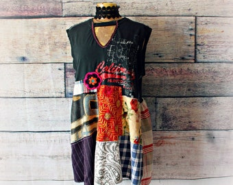 e204cec7e8892 Patchwork Top Plus Size Clothing Rustic Country Shirt Hippie Festival Boho  Tunic Dress Wearable Art Slouchy Loose Fit 1X  VERONICA
