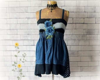 Blue Bohemian Top Gypsy Chic Shirt Fit Flare Tank Upcycled Clothing Country Clothes Romantic Top Rose Floral Smocked Shirred M 'MIRANDA'