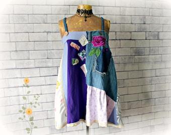 Denim Hippie Shirt Upcycled Clothing Boho Fashion Women's Flowy Top Festival Clothes Shabby Chic Gypsy Shirt Patchwork Tank L XL 'GINNY'