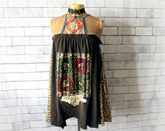 Boho Tank Top Plus Size Clothes Hippie Halter Shirt Upcycled Clothing Bohemian Festival Women's Swing Top Brown Camisole 1X 2X 'JONI'