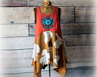 ML Repurposed Patchwork Top with BoHo feel using mixed fabricsprints soft simple relaxed and comfortable fit